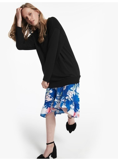Twist Eteği Kumaş Mixli Sweat Elbise Siyah